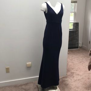 Navy wedding guest or bridesmaid dress.